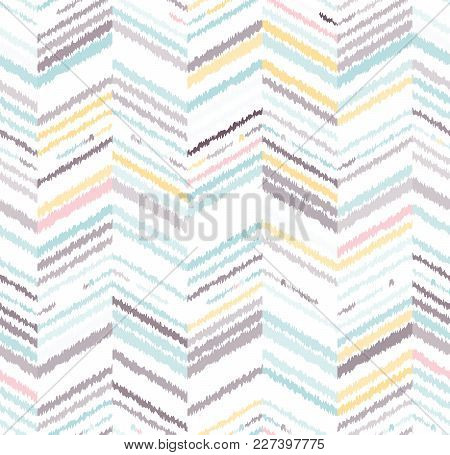 Abstract Seamless Pattern In Ethnic Style. Warm Fabric. Geometric Texture.