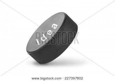 Hockey puck Idea isolated on white background
