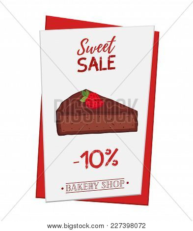 Set Of Pastry Poster, Banner For Sale Of Brownie. Promotion, Advertising Illustration. Made In Carto