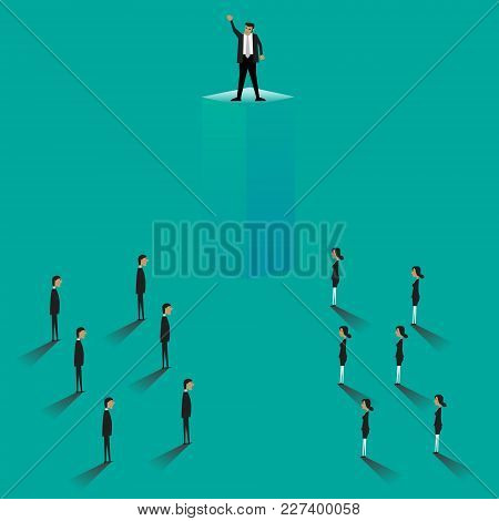 Business Leader Business People Looking Up At Their Leader. Teamwork, Leadership, Success Motivation