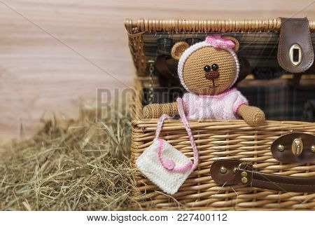 Teddy Bear On A Wooden Background , Copy Space