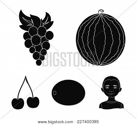 Watermelon, Grapes, Cherry, Kiwi.fruits Set Collection Icons In Black Style Vector Symbol Stock Illu