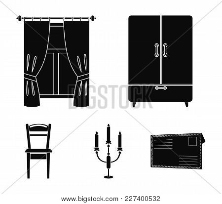 Wardrobe, Window With Curtains, Candlestick, Chair.furniture Set Collection Icons In Black Style Vec