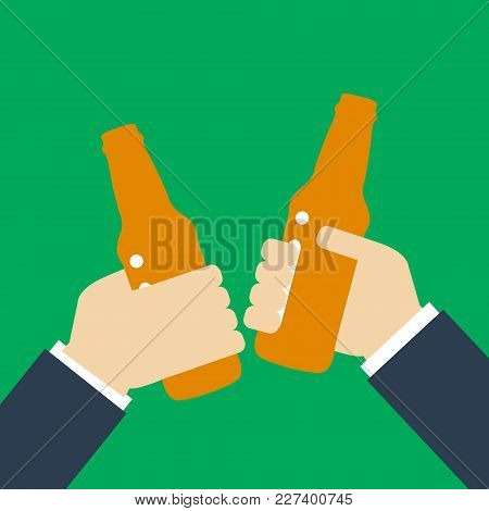 Beer Party Icon Silhouette. Two Mans Holding In Hands Beer Bottles. Toast. Drinking Alcoholic Bevera