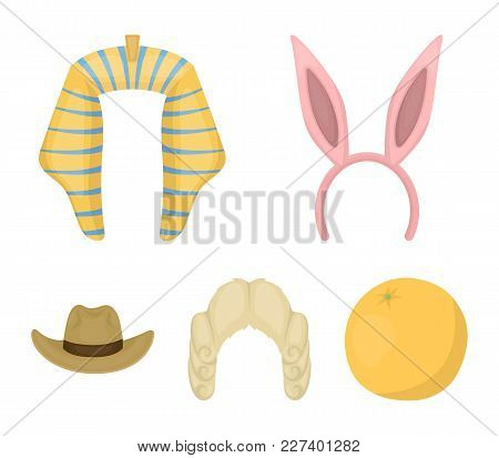Rabbit Ears, Judge Wig, Cowboy. Hats Set Collection Icons In Cartoon Style Vector Symbol Stock Illus