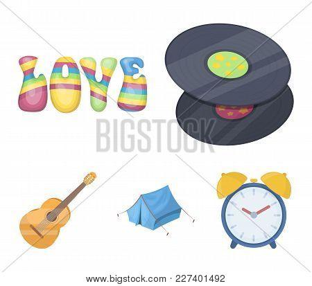 Vinyl Discs, Guitar, Tent.hippy Set Collection Icons In Cartoon Style Vector Symbol Stock Illustrati