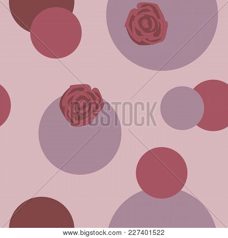 Red Roses And Pink And Red Circles On A Light Background Seamless Pattern.