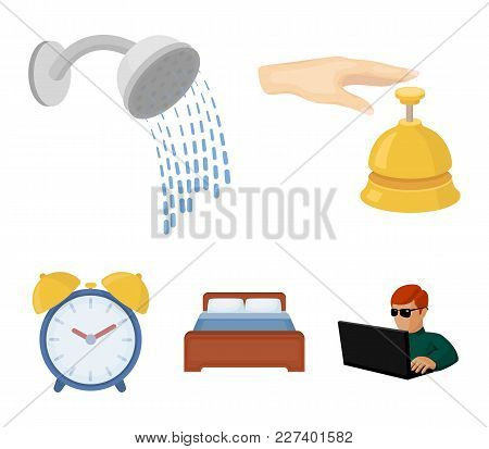 Call At The Reception, Alarm Clock, Bed, Shower.hotel Set Collection Icons In Cartoon Style Vector S