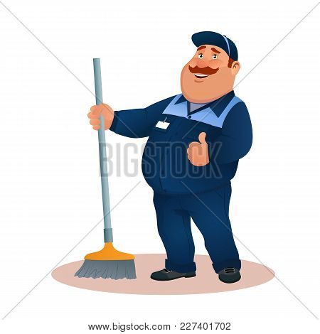 Funny Cartoon Janitor With Mop And Ok Gesture. Smiling Fat Character In Blue Suit With Broom. Happy