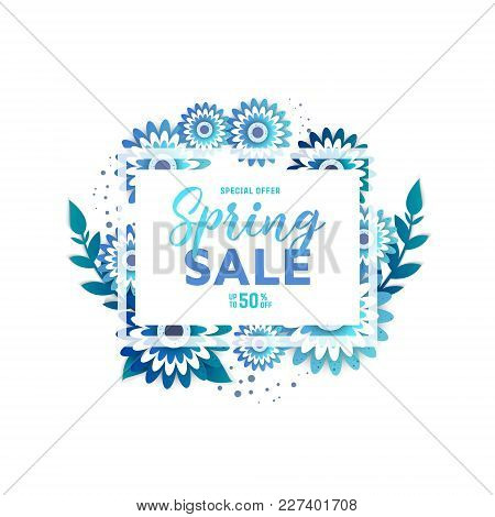 Paper Art Of  Spring Origami Sale Banner. Floral Greeting Card. Paper Cut Flower Holiday Background
