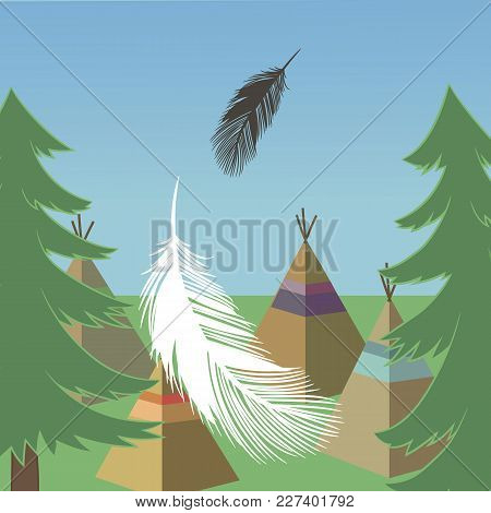 Vector Forest Landscape With Green Pines, Wigwams, Feathers And Blue Sky Green Grass Square