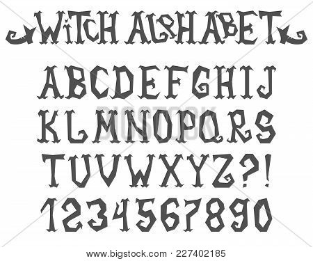 Witch Spooky And Magical Alphabet. Vector Illustration