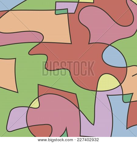 Bright Colorful Vektor Composition From Figures With A Dark Stroke Background