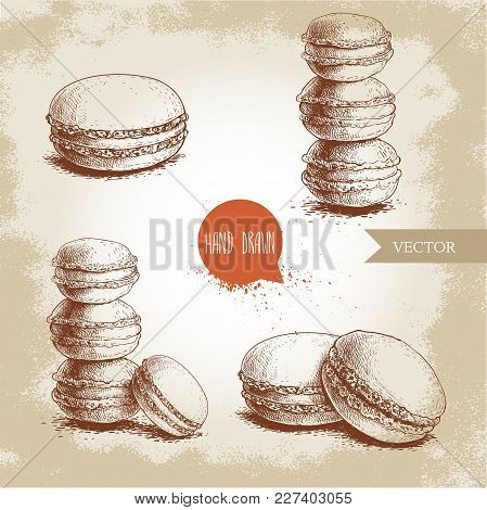 Hand Drawn Sketch Style French Pastry Macarons Set. Collection Of Sweet Goods For Menu Design, Resta