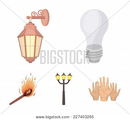 Led Light, Street Lamp, Match.light Source Set Collection Icons In Cartoon Style Vector Symbol Stock