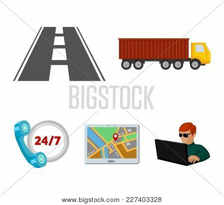 Round The Clock, Road, Truck, Jps.logistic, Set Collection Icons In Cartoon Style Vector Symbol Stoc