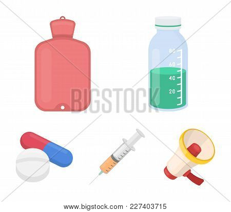 Solution, Warmer, Syringe, Pills.medicine Set Collection Icons In Cartoon Style Vector Symbol Stock