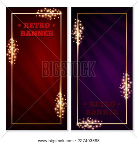 Set Of Retro Old-school Banner, Flyer, Ticket Or Voucher Template, Red And Blue, With Gold Frame, Sp
