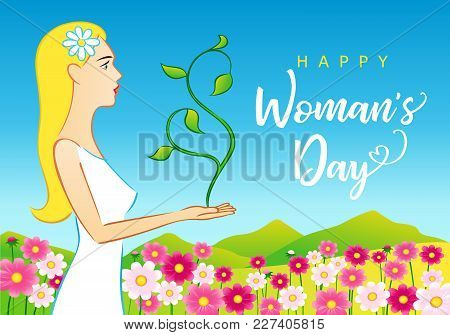 8 March Happy Womans Day Elegant Greeting Card. Vector Illustration For The International Women`s Da