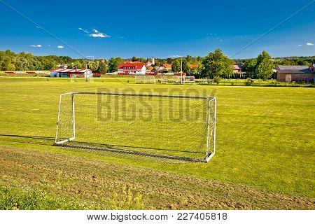 Sveti Martin Na Muri Village And Soccer Field View, Green Landscape Of Medjimurje Region, Croatia