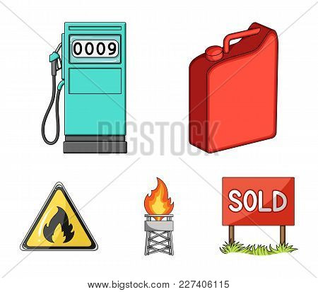 Canister For Gasoline, Gas Station, Tower, Warning Sign. Oil Set Collection Icons In Cartoon Style V