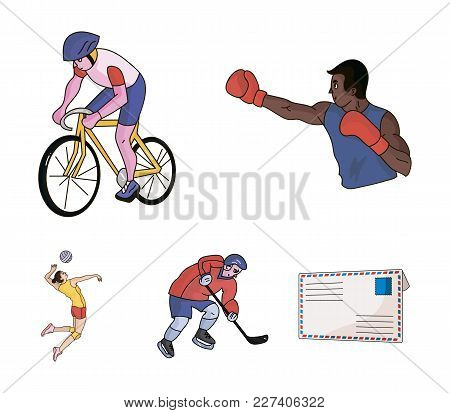 Cycling, Boxing, Ice Hockey, Volleyball.olympic Sport Set Collection Icons In Cartoon Style Vector S