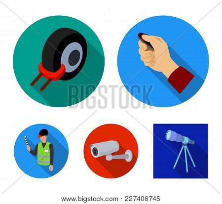 Car Alarm, Wheel Rim, Security Camera, Parking Assistant. Parking Zone Set Collection Icons In Flat