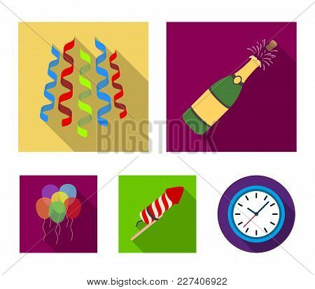 Champagne, Fireworks And Other Accessories At The Party.party And Partits Set Collection Icons In Fl