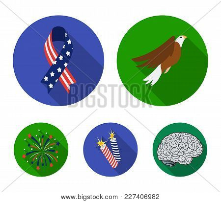 American Eagle, Ribbon, Salute. The Patriot's Day Set Collection Icons In Flat Style Vector Symbol S