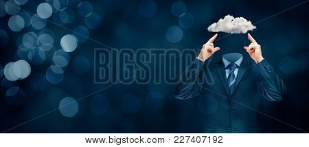 Sky Is The Limit - Motivation Concept. Head Is In The Clouds Concept. Businessman Has Business Visio