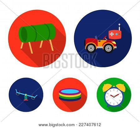 Machine For Radio Control, Tunnel, Trampoline, Swing. Playground Set Collection Icons In Flat Style