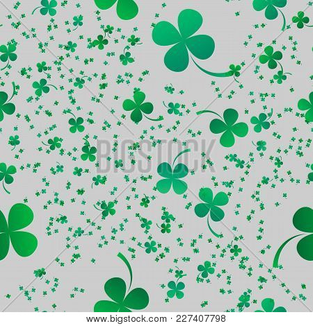 Irish Four Leaf Lucky Clovers Background For Happy St. Patrick S Day. Eps 10. Seamless Pattern