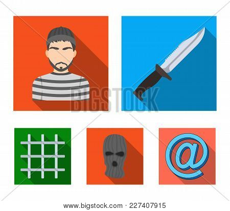 Knife, Prisoner, Mask On Face, Steel Grille. Prison Set Collection Icons In Flat Style Vector Symbol