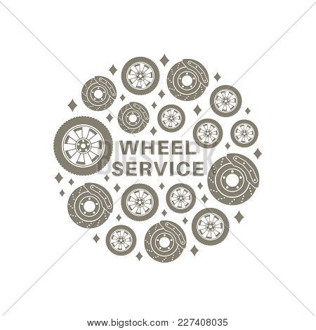 Wheel Service. Circle Background Consisting Of Wheel And Brake Disc Icons In Flat Style.
