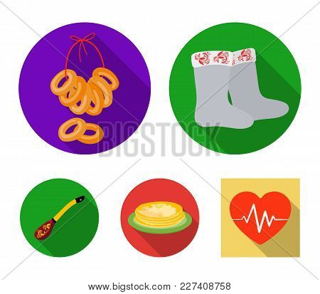 Felt, Boots, Drying, Gingerbread .russia Country Set Collection Icons In Flat Style Vector Symbol St