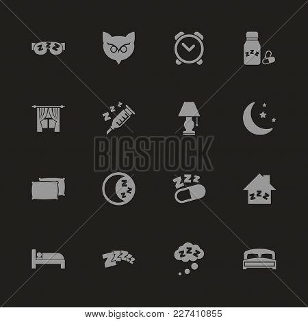 Sleep Icons - Gray Symbol On Black Background. Simple Illustration. Flat Vector Icon.