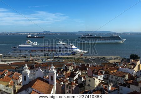 Lisbon, Portugal - October 22, 2017: View Of The Alfama Neighborhood From The Santa Luzia Viewpoint,