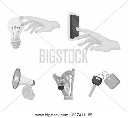 Electric Switch Button, Incandescent Lamp And Other  Icon In Monochrome Style. Harp Playing, Megapho