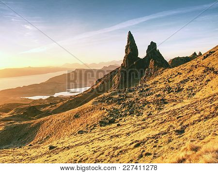 Sunrise At The Old Man Of Storr - Amazing Scenery With Vivid Colors. Symbolic Tourist Attraction.  S