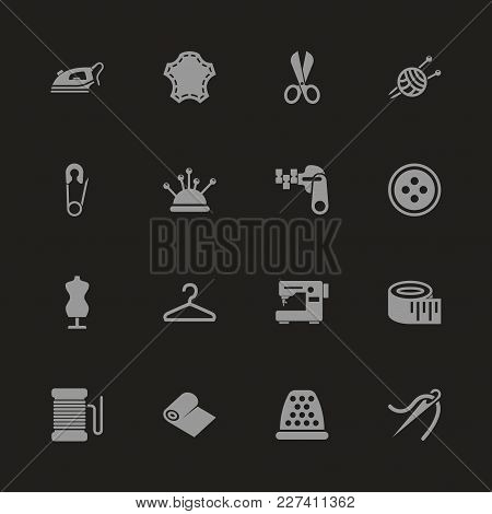 Tailoring Icons - Gray Symbol On Black Background. Simple Illustration. Flat Vector Icon.