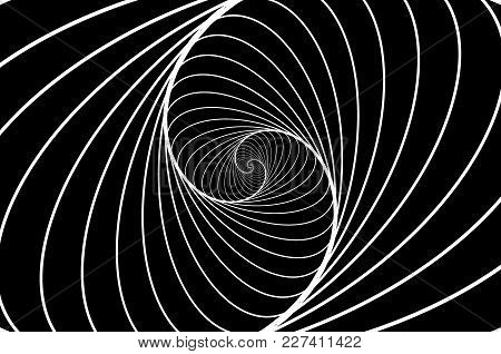 Rotating Concentric Ellipse, Ellipse Optical Illusion Pattern - Black And White, Geometric Abstract