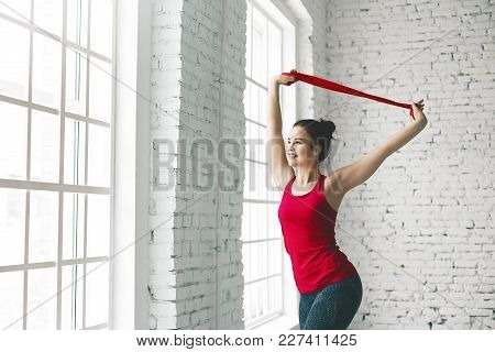 Cropped View Of Beautiful Happy Young Female With Flexible Athletic Body Doing Stretching Exercises