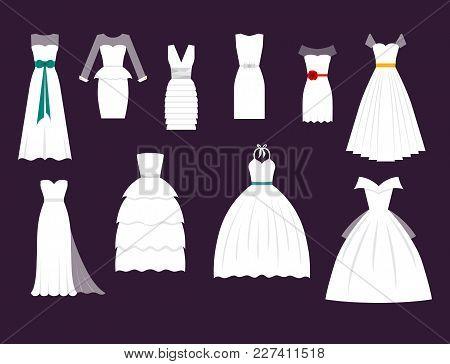 Wedding Bride Dress Elegance Style Celebration Vector Illustration. Fashion Bride Design Made In Mod