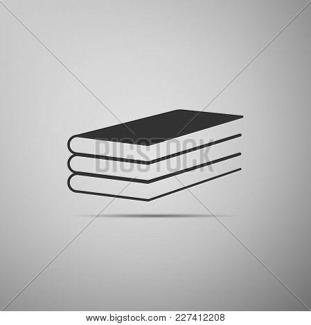 Books Icon Isolated On Grey Background. Flat Design. Vector Illustration