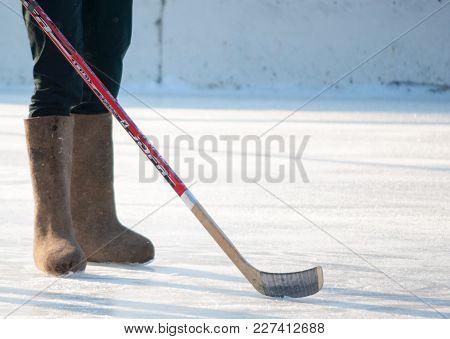 Felt Boots Hockey, Horizontal Shot Of The Legs Of The Player. Russia, Kaliningrad Region, 18th Of Fe