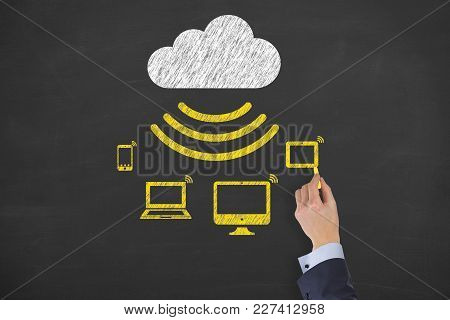 Human Hand Drawing Cloud Computing Concepts On Blackboard Background