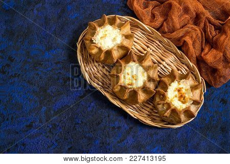 Traditional Karelian Baking, Rye Pies Wickets (kalitki) With Cottage Cheese. Diverse National Cuisin