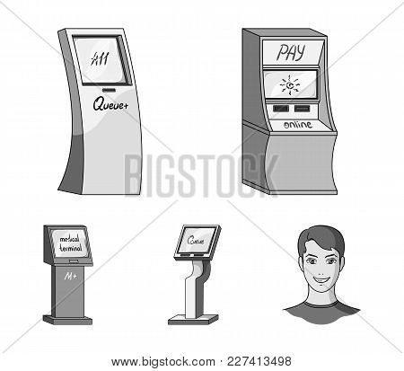 Medical Terminal, Atm For Payment, Apparatus For Queue, . Terminals Set Collection Icons In Monochro
