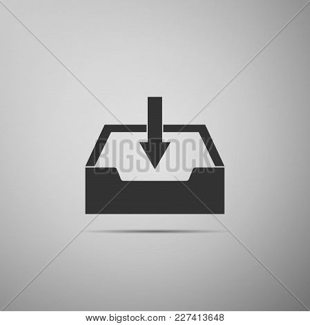 Download Inbox Icon Isolated On Grey Background. Flat Design. Vector Illustration