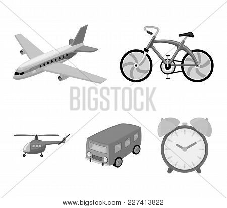 Bicycle, Airplane, Bus, Helicopter Types Of Transport. Transport Set Collection Icons In Monochrome